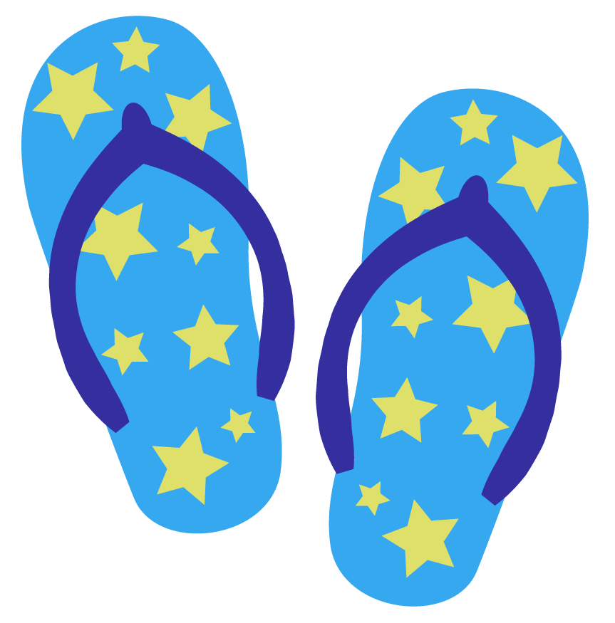 星の模様のビーチサンダルのイラスト