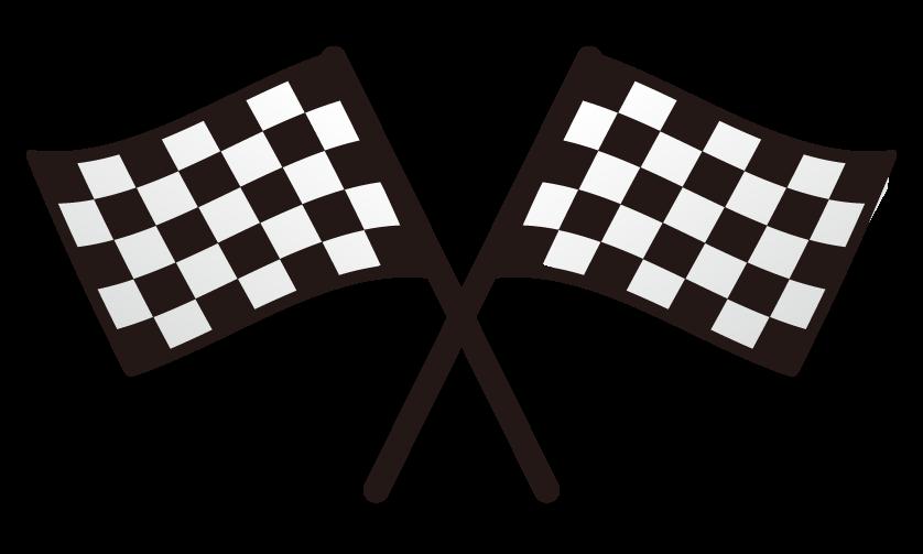チェッカーフラッグ(2本)のイラスト