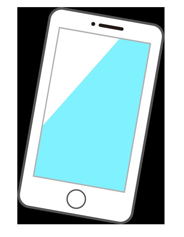 白いスマートフォン(スマホ)のイラスト