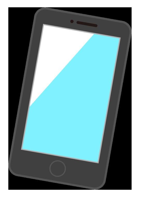 黒色のスマートフォン(スマホ)のイラスト