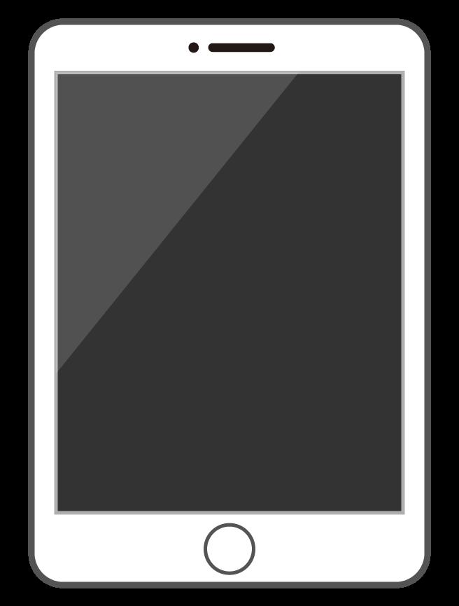 白いタブレット端末のイラスト
