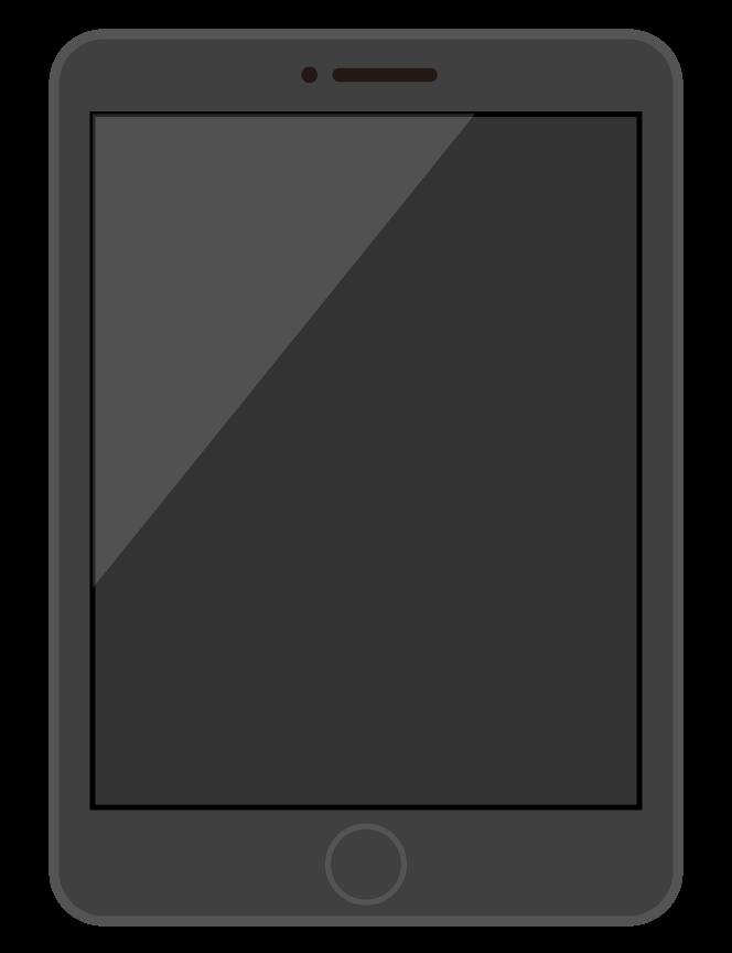 黒色のタブレット端末のイラスト