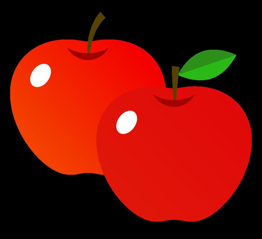 リンゴ(2つ)のイラスト