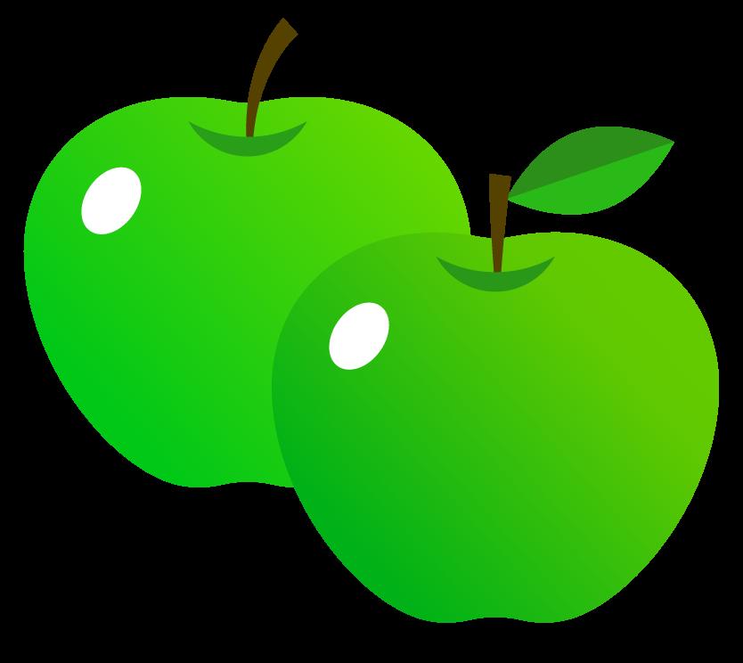 青リンゴ(2つ)のイラスト