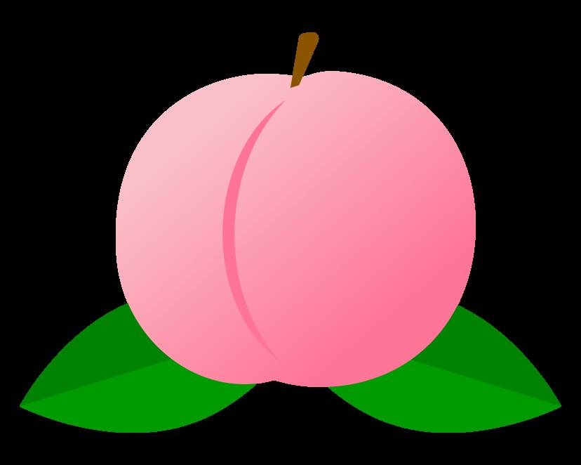 葉っぱが付いた桃のイラスト