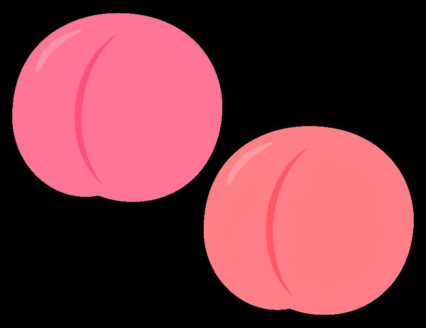 桃(2個)のイラスト