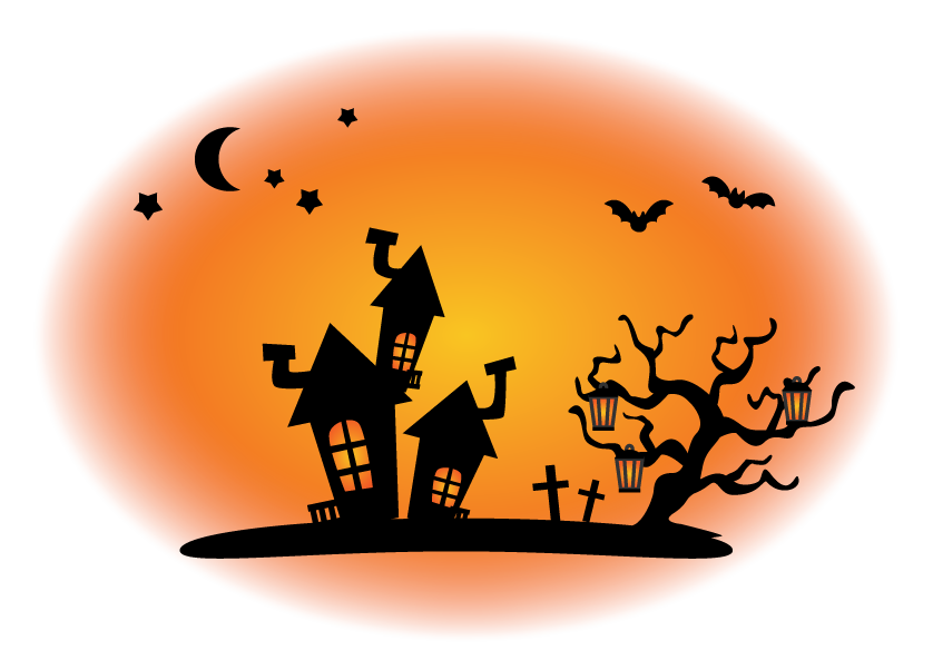 ハロウィン・コウモリとお化け屋敷のイラスト