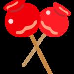 2本のリンゴ飴のイラスト