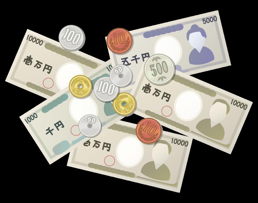お札・紙幣と硬貨のイラスト