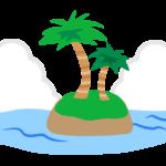 海に浮かぶ島とヤシの木のイラスト