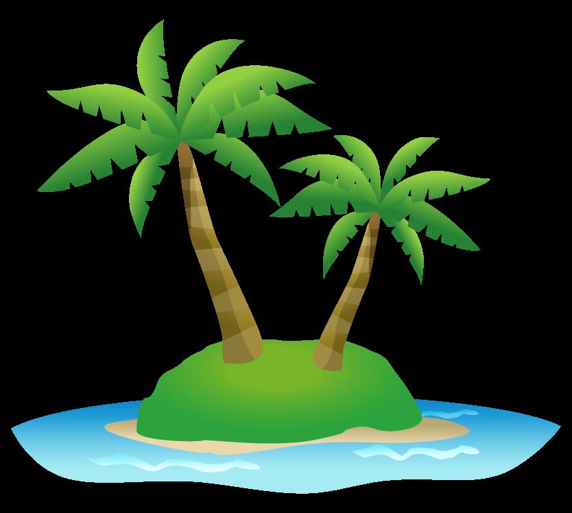 島とヤシの木のイラスト