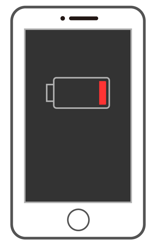 バッテリー残量少のスマートフォン(スマホ)のイラスト