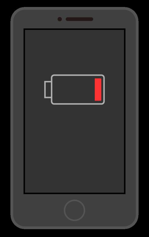 バッテリー残量少のスマートフォン(スマホ)のイラスト02