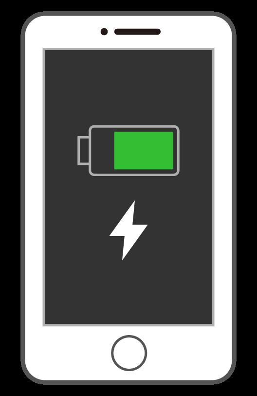 充電中のスマートフォン(スマホ)のイラスト