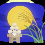 満月とお月見団子のイラスト