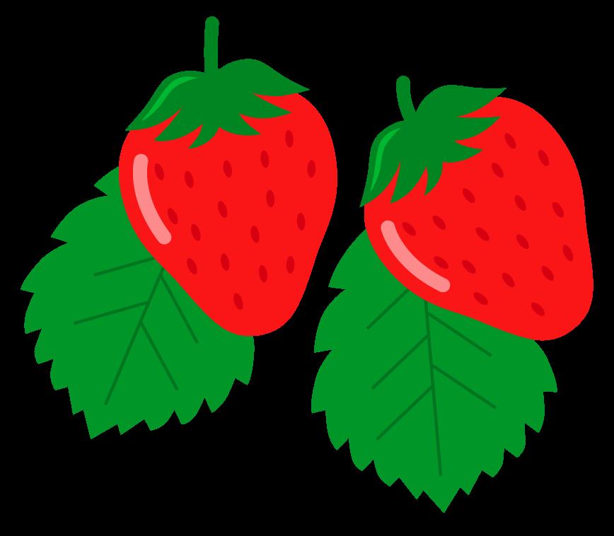 葉っぱといちご(苺)のイラスト