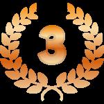 「3」と銅の月桂樹(月桂冠)のイラスト