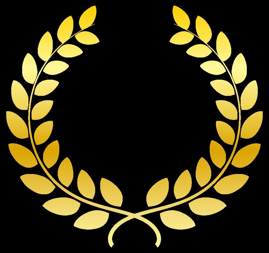金の月桂樹(月桂冠)のリースのイラスト