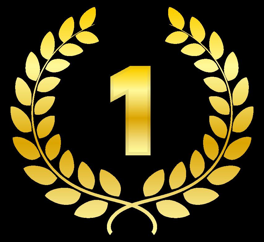 「1」と金の月桂樹(月桂冠)のイラスト