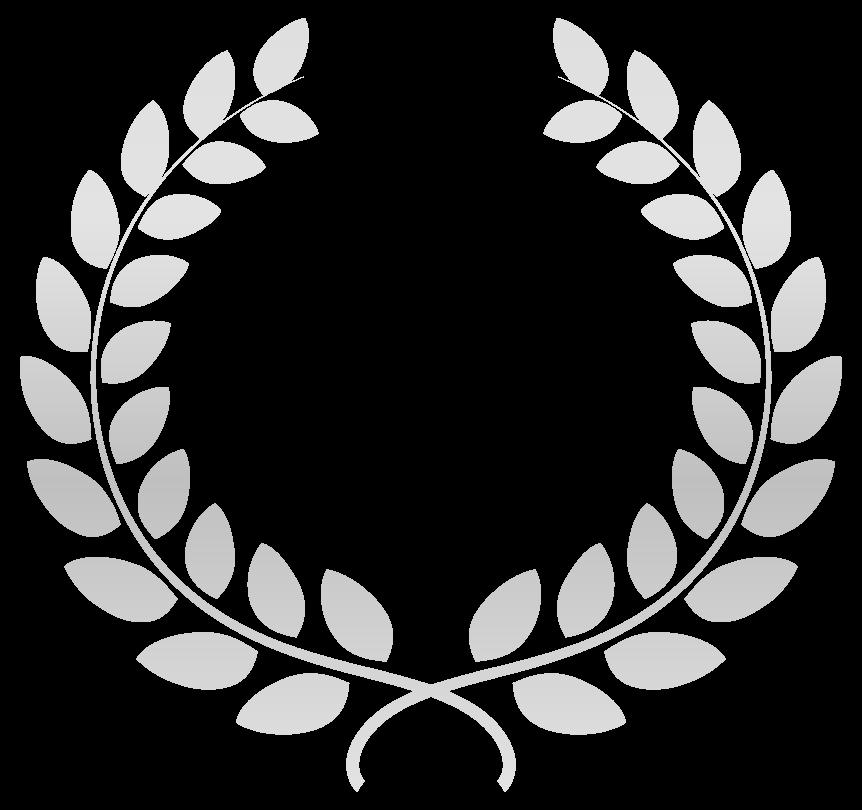 銀の月桂樹(月桂冠)のリースのイラスト
