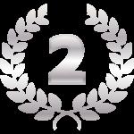 「2」と銀の月桂樹(月桂冠)のイラスト