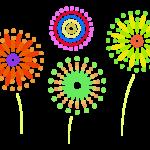 たくさんの花火のイラスト
