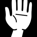 白黒の手のひら・挙手のイラスト