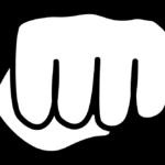 白黒の握りこぶし・パンチのイラスト