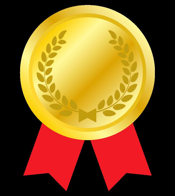 リボンが付いた金メダルのイラスト