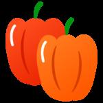 赤とオレンジのパプリカのイラスト