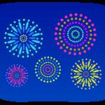 夜空と沢山の花火のイラスト