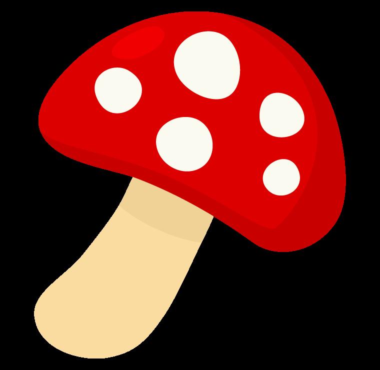 赤と白い模様のキノコのイラスト