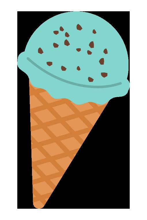 チョコミントのアイスクリームのイラスト