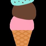 トリプルのアイスクリームのイラスト