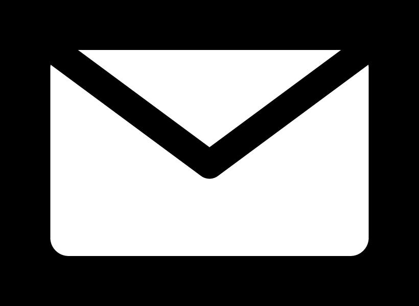 白黒のメールアイコンのイラスト