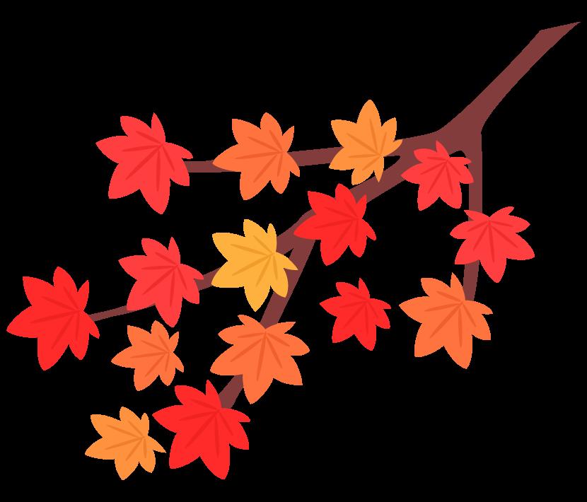 紅葉した木の枝のイラスト