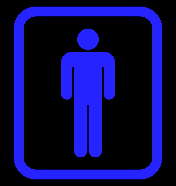 枠付きの男性用トイレマークのイラスト