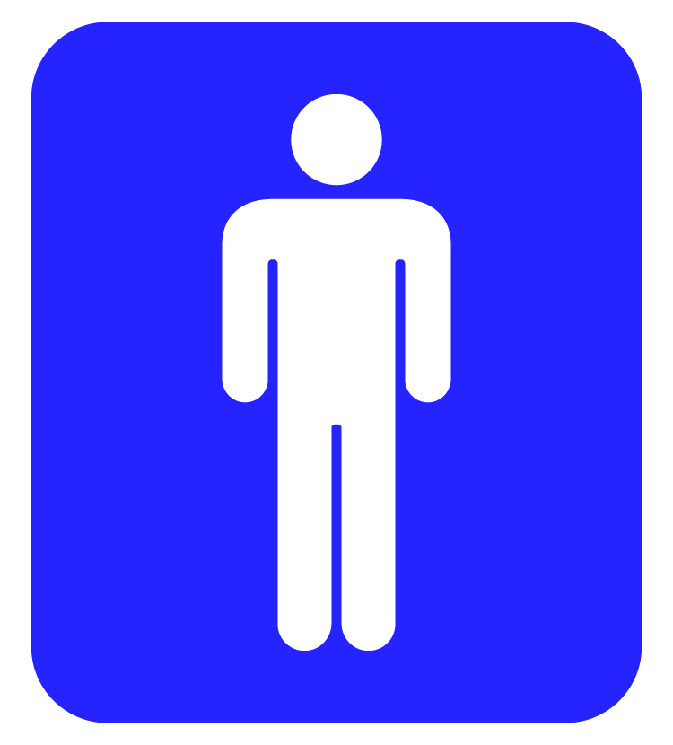 男性用トイレマーク(白抜き)のイラスト
