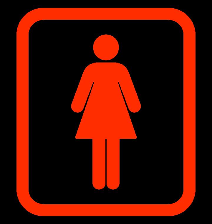枠付きの女性用トイレマークのイラスト