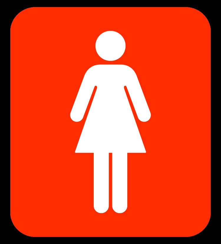 女性用トイレマーク(白抜き)のイラスト