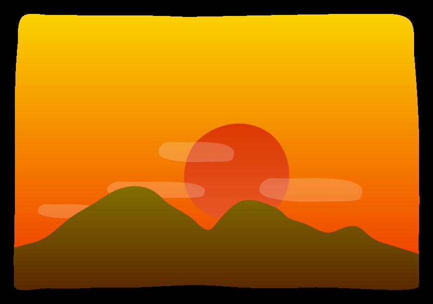 山に沈む夕日のイラスト