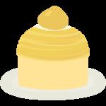 黄色いモンブランケーキのイラスト