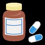ボトルとカプセルの薬のイラスト