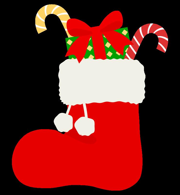 クリスマスブーツに入ったプレゼントのイラスト
