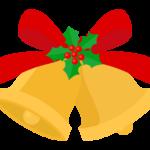 赤いリボンとクリスマスベルのイラスト