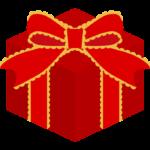 リボンが付いたクリスマスプレゼントのイラスト