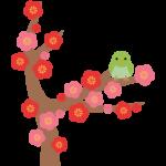 梅と鶯(うぐいす)のイラスト