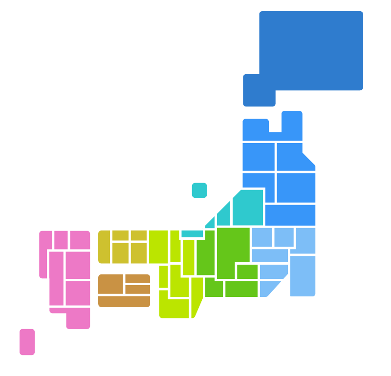 日本地図(都道府県分け・地方別色分け)のイラスト