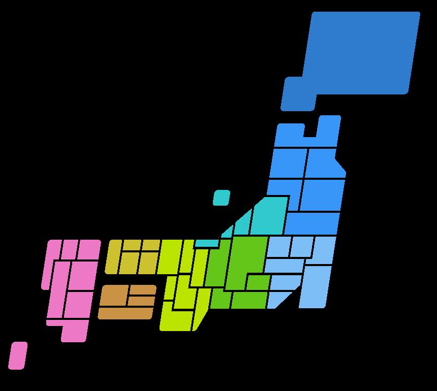 日本地図(都道府県分け・地方別色分け)のイラスト02