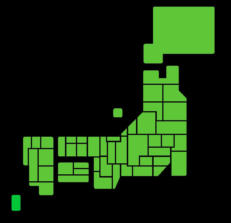 日本地図(都道府県分け)のイラスト